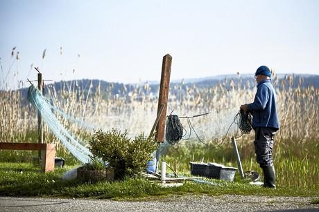 Fischer beim Netze richten