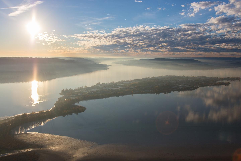 Luftbild Insel Reichenau aus NO mit Sonne und Wolken