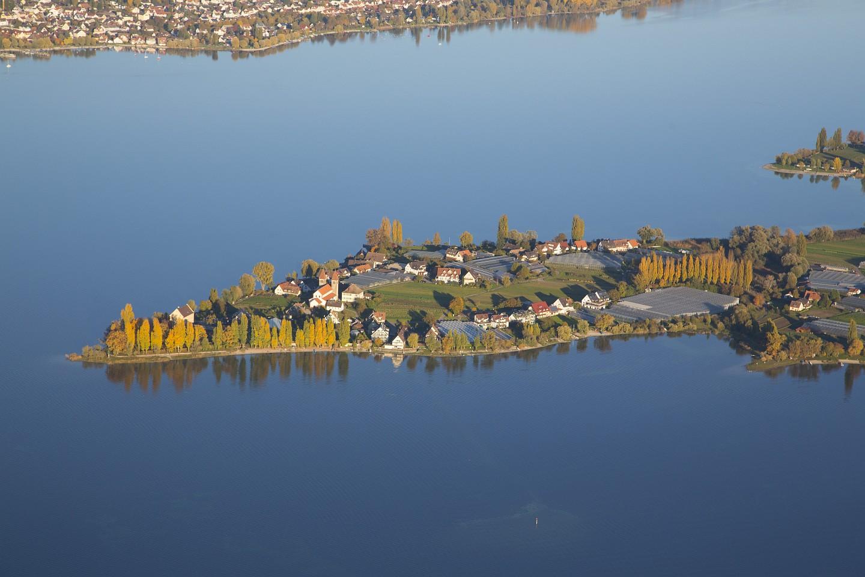 Westende der Insel, Herbst, Luftbild, Reichenau