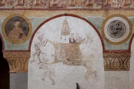 """""""Kuhhaut"""" von den Wandmalereien in der Kirche St. Georg, Reichenau"""